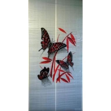 Настенный пленочный обогреватель Бархатный сезон Бабочки Красные на Белом
